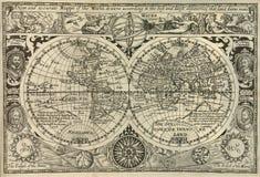 Antieke wereldkaart Stock Afbeeldingen
