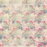 Antique vintage roses patterned background in pink and green spring colors Royalty Free Stock Image