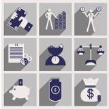 Appartement avec les icônes économiques élégantes de concept d'ombre Photographie stock libre de droits