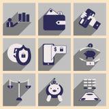 Appartement avec les icônes élégantes d'affaires de concept d'ombre Photos libres de droits