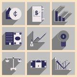 Appartement avec les icônes élégantes de finances de concept d'ombre Images stock