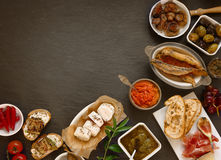 Appetizing Tapas on Table with Copy Space Stock Photos