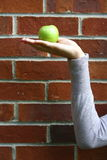Apple on hand with brick background. Stock Photography