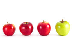 Apples in row Royalty Free Stock Photos