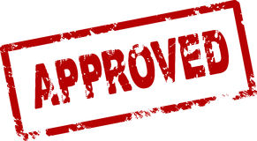 Approved red rubber stamp. Royalty Free Stock Images
