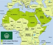 Arab League map and surroundings Stock Photo