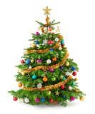 Arbre de Noël luxuriant avec les ornements colorés Photographie stock