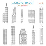Architecture city skyscraper graphical lineart vector set Royalty Free Stock Images