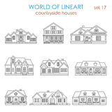 Architecture countryside house townhouse graphical lineart Stock Photo