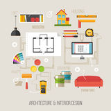 Architecture and interior design concept with architecture vecto Stock Images