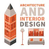 Architecture and interior design vector concept in flat style Stock Images