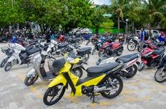Area di parcheggio delle motociclette al maschio Immagine Stock Libera da Diritti