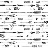 Arrow rustic seamless pattern. Hand drawn vintage vector Royalty Free Stock Photography