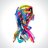 Artistic portrait of lady with colours strock Stock Photo