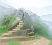 As escadas levantam as montanhas enevoadas Desenho de Digitas Fotos de Stock
