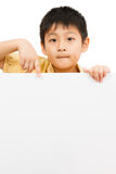 Asian Chinese Children Holding blank white board. Stock Images