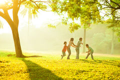 Asian family outdoor quality time Royalty Free Stock Photo