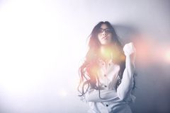Asian model in white blouse,  glasses, bust, long  Royalty Free Stock Image