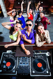Asian people partying on dance floor in nightclub Stock Images