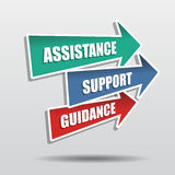Assistance, support, guidance in arrows, flat design Stock Image