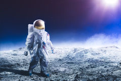 Astronaut walking on the moon Royalty Free Stock Images