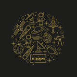 Astronomy Gold Vector Icon Set Stock Image