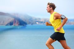 Athlete running man - male runner in San Francisco Royalty Free Stock Image