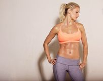 Athletic Woman with Sixpack Abs Royalty Free Stock Photo
