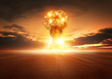 Atom Bomb Explosion Royalty-vrije Stock Afbeeldingen