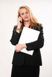 Attractive blond caucasian business woman Stock Images