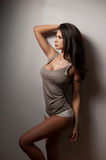 Attractive woman with long hair in top and white panties posing near a gray wall. Side view of perfect body woman in lingerie Stock Photography