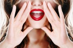 Attractive young sexy woman lady model girl telling a secret Stock Photo