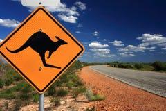 australia kangura znaka ostrzegawczy zachód Fotografia Royalty Free