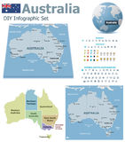 Australia maps with markers Stock Photo