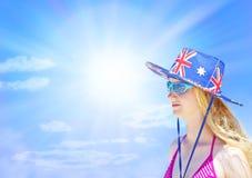Australian Girl Sky Background Stock Images