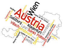 Austria map and cities Stock Image