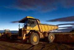 Auto-dump yellow mining truck night excavator Royalty Free Stock Photography