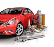 Auto parts with beautiful car. Stock Photo