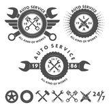 Auto service labels emblems and logo elements Stock Image
