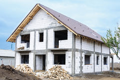 Autoclaved aerated concrete house workplace Royalty Free Stock Photo