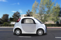 Autonomous self-driving driverless vehicle driving on the road Royalty Free Stock Photography