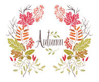 Autumn Frame of leaves and twigs Stock Images