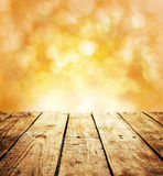 Autumn rustic template background with wooden table and text space Royalty Free Stock Images