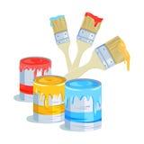 Bürsten und Farbendosen Stockbild