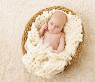 Baby in Basket, New Born Kid Lying Blanket, One Month Newborn Stock Photo