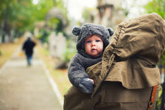 Baby dressed in warm clothes Royalty Free Stock Image