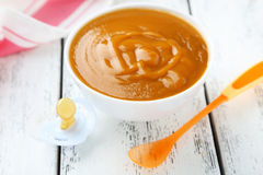 Baby food in bowl Stock Image