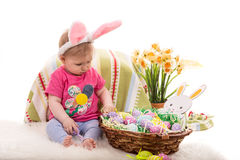 Baby girl with Easter basket Royalty Free Stock Image