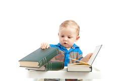 Baby met boeken Royalty-vrije Stock Fotografie