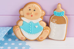 Baby shower icing cookies Royalty Free Stock Image